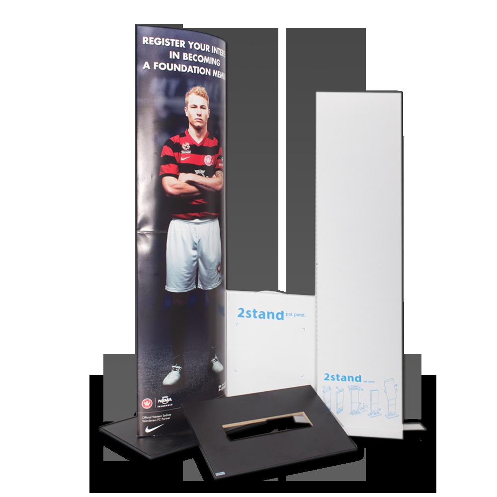 2Stand display, ellipse med trykt besked til kampagne