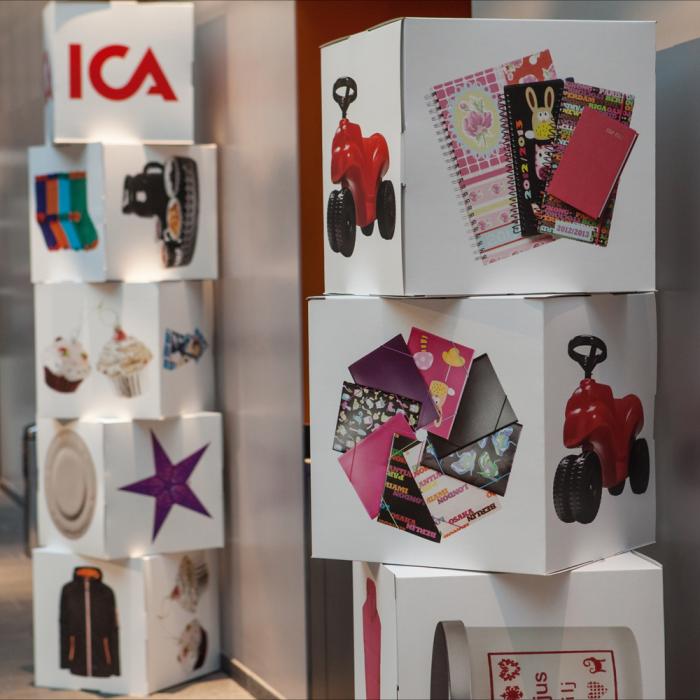 Karton terning kub display med farve tryk