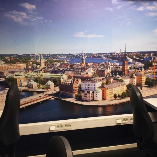 Stadsbild på fototapet med snyggt tryck