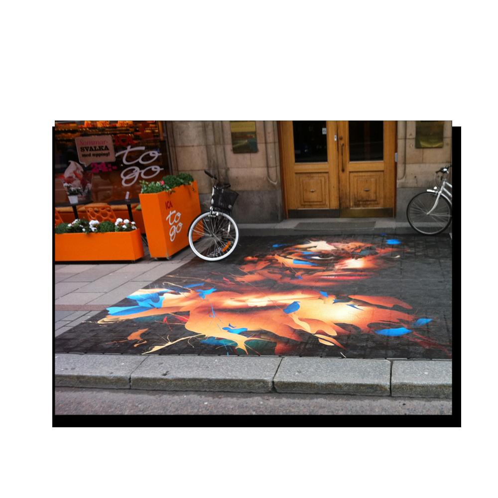 Billede, foto og tekst på asfalt som Klistermærke