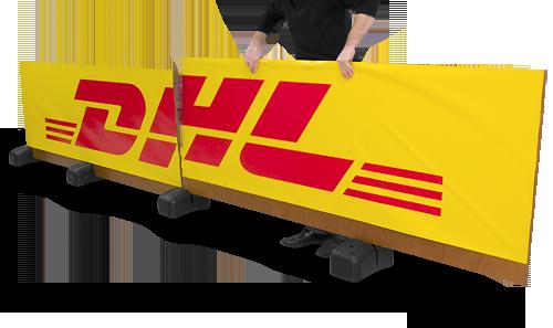 Sargreklam med logo och fot