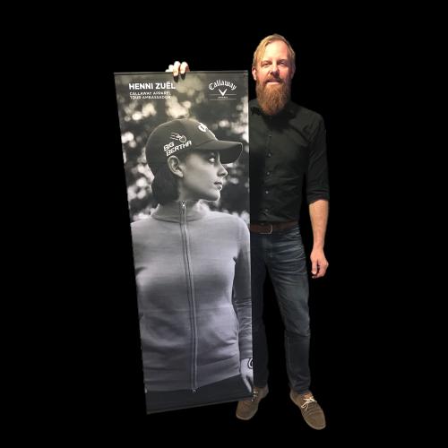 Stoffer med reklame banner til butikker